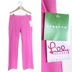Lilly Pulitzer Textured Trouser Pant Pink Hibiscus